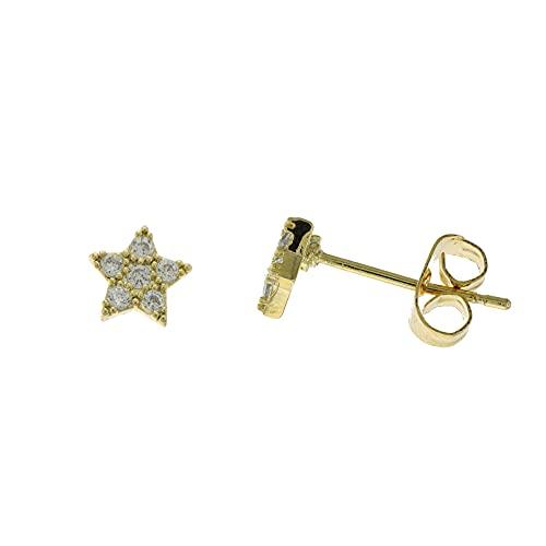 Córdoba Jewels   Pendientes en Acero bañado en oro con diseño Estrella Zirconium Gold