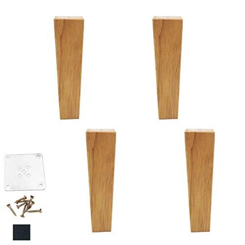 DX meubilair poten voeten sofa bank poten 4 stuks, houten poten helder gecoat eiken, voor bijzettafels, tv-kasten, doe-het-zelverprojecten, inclusief montagetoebehoren (5 cm)