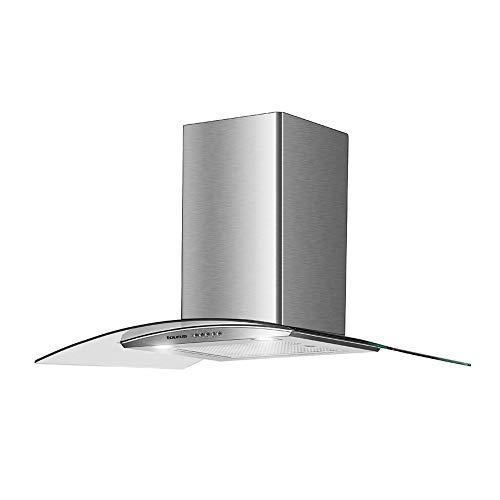 Taurus Hermitage 90 Glass - Campana extractora decorativa 90 cm de 550 m3/h., 3 niveles de potencia, iluminación LED, 1 filtro de 5 capas, acero inox, color plata