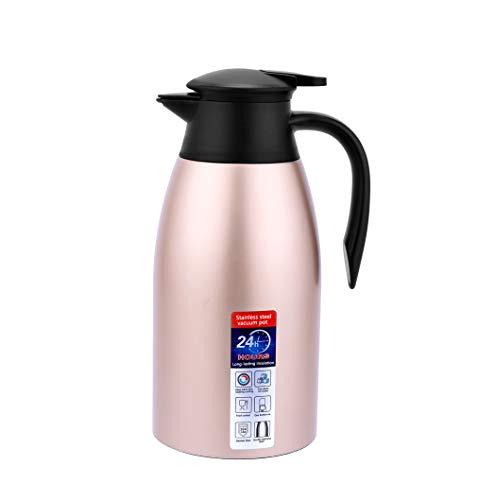 Jarra Térmica, termo para bebidas frías, hervidor de agua para el hogar, botella aislada de doble pared, hervidor de vacío dorado (Dorado, 2000ML)