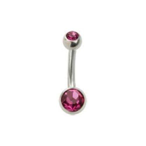eeddoo navelpiercing banaan dubbel kristal roze zilver titanium