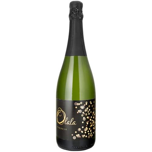 OLALÁ - Vino Blanco Espumoso de Uva 100% Verdejo, Aroma Frutal, Pospaladar Suave, Perfecto con Aperitivos, Embutidos, Mariscos, Arroces y Postres, 75cl - 0.75 ml