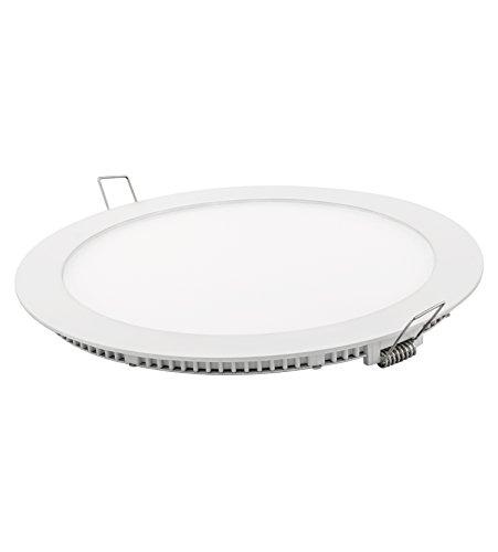 Davled, Downlight Led redondo plano, aluminio, blanco, 18W, luz fría, corte 225 mm
