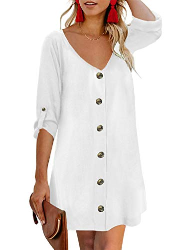AlvaQ Mini Dress for Women Summer Solid V Neck Short Sleeves Button Down Tunics