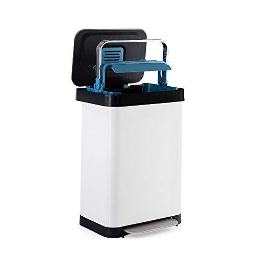KLARSTEIN Trash Inn - Poubelle à pédale, OdorControl: Filtre Anti-odeurs, boîtier en INOX, Support Pratique pour Sac Poubelle, poignée de compacteur en INOX, mécanisme à pédale, 50 L - Blanc