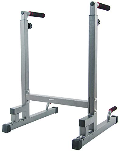 BalanceFrom Multi-Function Dip Stand Dip Station Dip bar with Improved Structure Design, 500-Pound Capacity (Gray)