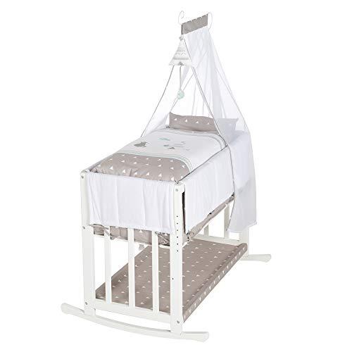 roba-kids - Cuna 4 en 1, cama lateral'Indibär', cuna, cuna y banco para niños, blanco