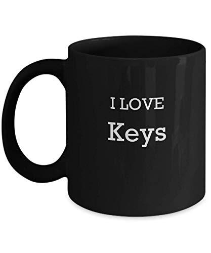 Lsjuee I Love Keys Coffee Mug 11oz Enthusiast Lover Novelty Fun Funny Gift Idea Tea Cup for Her Black