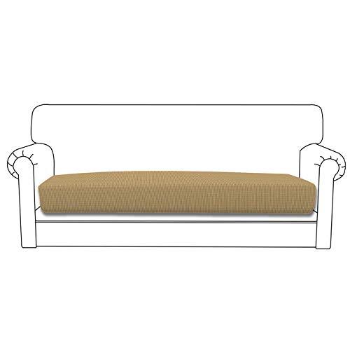 Easy-Going Funda de cojín elástica para sofá o sofá, funda de sofá, suave, flexible, con parte inferior elástica (cojín de sofá, dorado)
