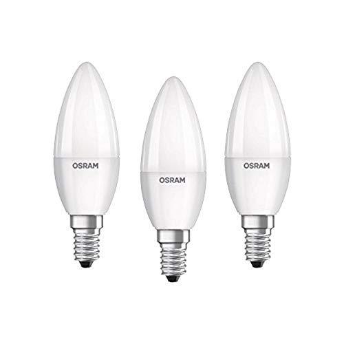 Osram LED Base Classic B Lampe, in Kerzenform mit E14-Sockel, nicht dimmbar, Ersetzt 40 Watt, Matt, Kaltweiß - 4000 Kelvin, 3er - Blister