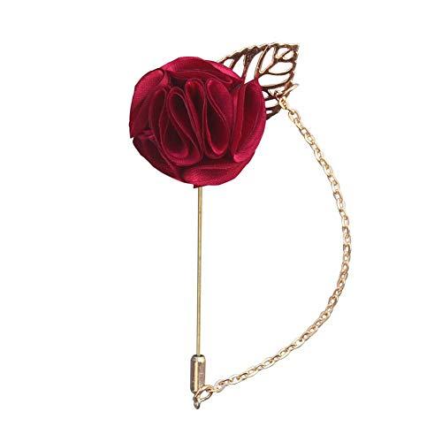 Hommes Femmes Fleur Chaîne Broche Costume Cravate Cravate Broches Broche Mariage Vêtements De Fête Boutonnière Décor - Vin Rouge Rentable Et Durable Créatif et utile