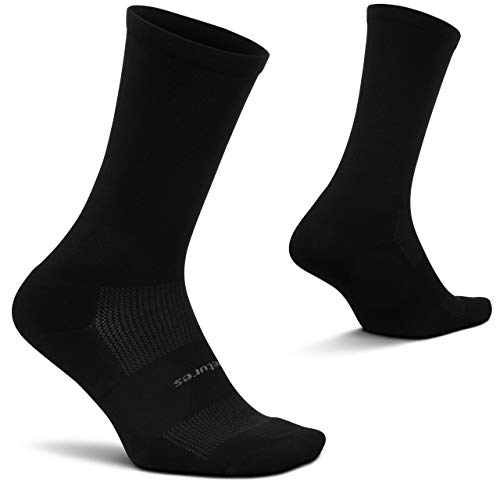 Feetures - High Performance Cushion - Crew - Athletic Running Socks for Men and Women - Black - Size X-Large