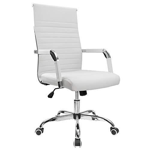 Furmax Ribbed Office Desk Mid-Back PU Leather Executive Conference Task Adjustable Swivel Chair with Arms, White