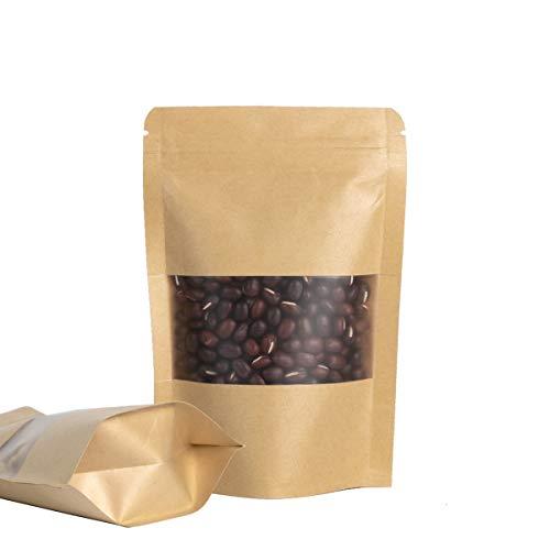 LIVEMEGREEN 50 bolsas de papel kraft con cierre de cremallera, resellables bolsas de papel kraft para alimentos,bolsas de sellado reutilizables con ventana transparente con cremallera(9x14 cm)