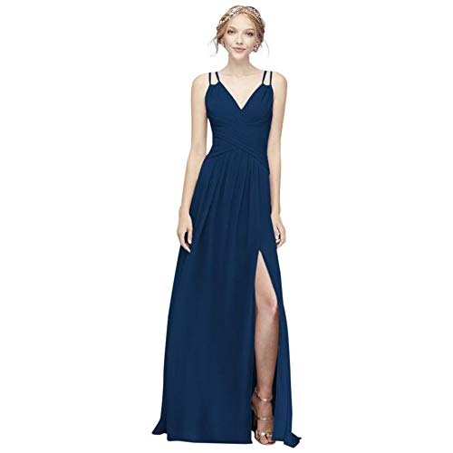 David's Bridal Plunging V-Neck Crinkle Chiffon Bridesmaid Dress Style F19837, Marine, 0