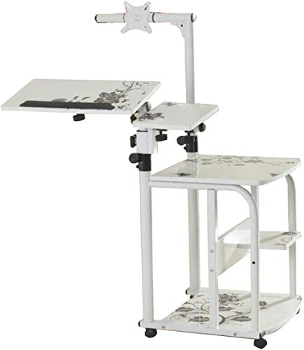 MJAHQ Mesa para Cama Mesa sobre Mesa de Cama Regulable en Altura móvil con Ruedas Mesa de Trabajo Antideslizante-Blanco