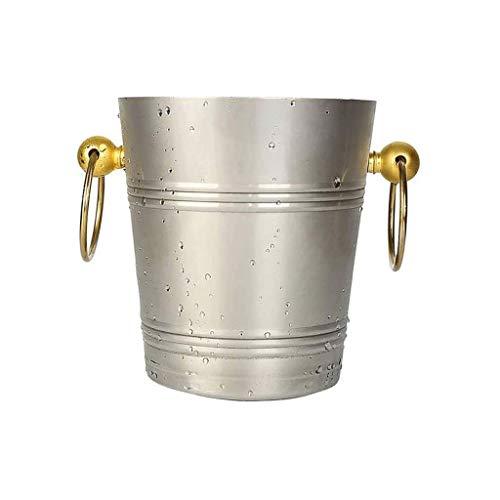 ZSQHD Oído de Oro Hielo Cubo de Acero Inoxidable de Doble Pared de Aislamiento Cubo de Hielo del congelador Incluye la Pinza, Tapa, Filtro, Copa Tirador de Acero Inoxidable