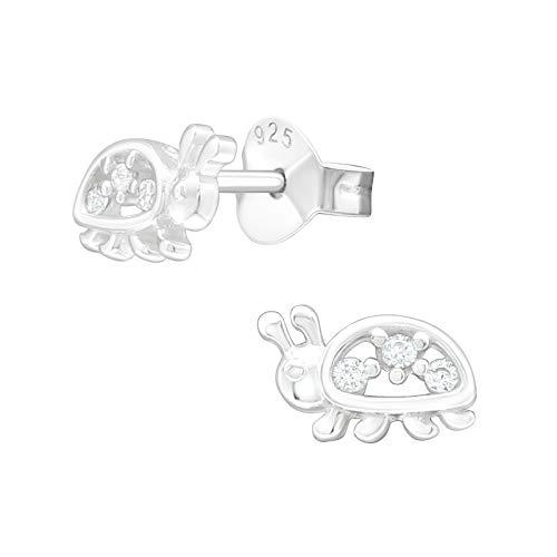 Laimons Pendientes infantiles de mariquita, 8 x 5 mm, con circonitas, de plata de ley 925