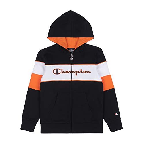 Champion Kinder Zip Hoodie Hooded Full Zip Sweatshirt 305388, Farbe:schwarz (NBK)/weiß (wht)/orange (crt), Größe:L