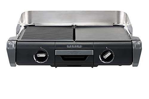 Tefal Barbecue Électrique Family Flavor 2en1, BBQ de Table, Grill Plancha, Thermostat Réglable, 2 Surfaces de Cuisson, 2400 W TG804D14