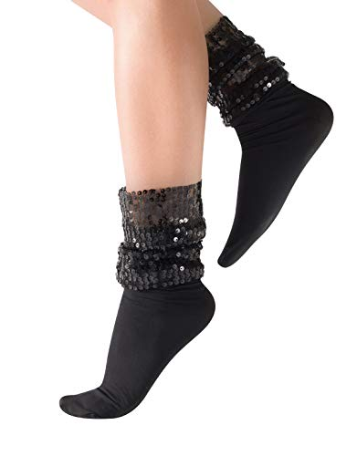 CALZITALY Calcetines Brillantes, Calcetines Veladas, Calcetines sin Elastico, Calcetines Lentejuelas   Negro, Gris   Talla Unica   20/40 DEN   Made in Italy (Talla única, Negro Opaco con Lentejuelas)