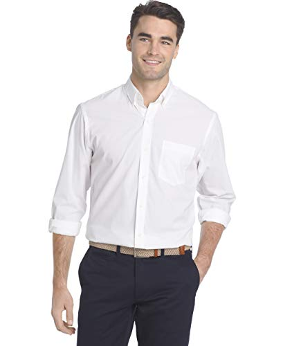 IZOD Men's Button Down Long Sleeve Stretch Performance Solid Shirt, White, Large