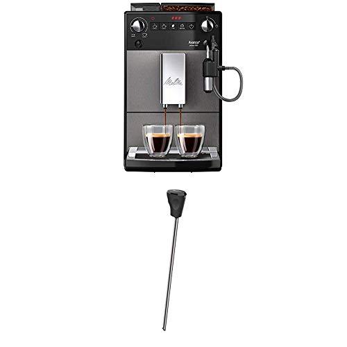 Melitta Avanza F270-100 Kaffeevollautomat mit integriertem Milchsystem, mystic titan + Milchlanze für Kaffeevollautomaten, Edelstahl, Schwarz