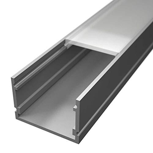 NORMA Aufbauprofil Aluminium eloxiert | L - 2m x B - 30mm x H - 20mm | milchig | inkl. Montageclips + Endkappen | Aluprofil für Stripes bis 26mm Breite (2 Meter NORMA milchig)