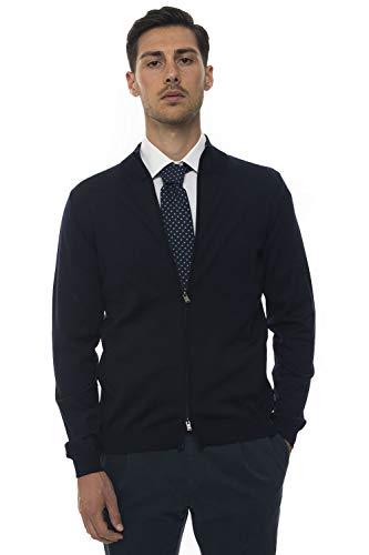 BOSS Jersey con cremallera entera azul lana para hombre