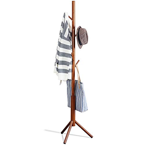 Bamboo Free Standing Coat Rack Stand, Adjustable Coat Tree with 3 Sections & 8 Hooks, Easy to Assemble Coat Hanger Stand for Bedroom, Office, Hallway, Entryway, Bedroom, Brown