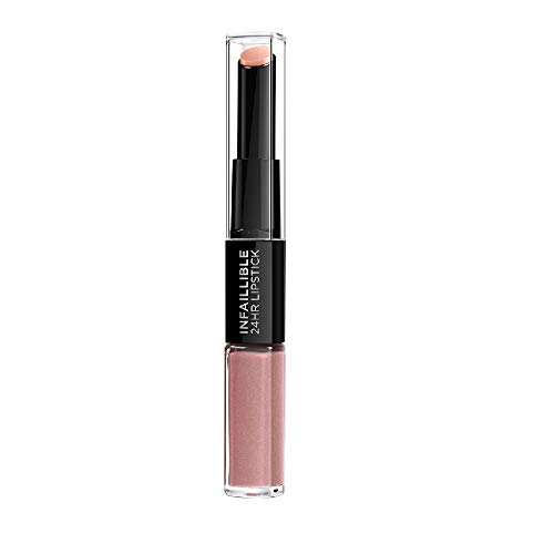 L'Oreal Paris Lippen Make-up Infaillible Lippenstift, 111 Permanent Blush /Liquid Lipstick für 24 Stunden volle Lippen mit feuchtigkeitsspendendem Lippenpflege - Balsam, 1er Pack