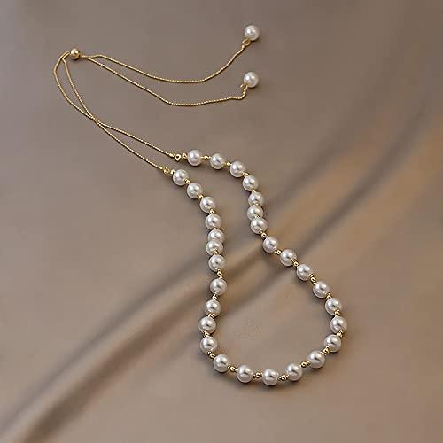 Collar Colgante Cadena Collares Hombre Mujer Collar Elegante Coreano con Borlas De Perlas para Mujer Joven, Cadena De Clavícula Inusual para Fiesta De Boda, Accesorios De Gargantil