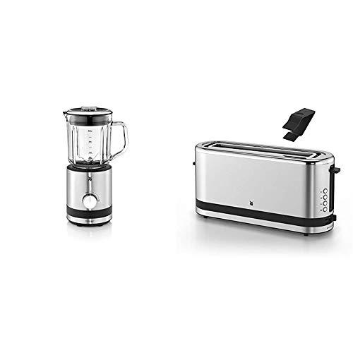 WMF Küchenminis Kompaktmixer, Standmixer, 400 Watt, Glasbehälter 0,8 l, cromargan matt/silber & Küchenminis Toaster Langschlitz mit Brötchenaufsatz, 900 W, XXL Toastscheiben, Toaster edelstahl matt