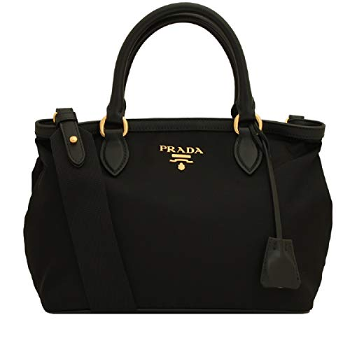 Prada Tessuto Nylon Soft Calf Leather Trim Cross Body Handbag 1BA172