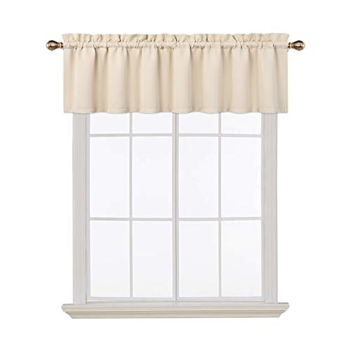 Blackout Valances for Windows Living Room Kitchen Bedroom Thermal Insulated Window Valance Curtains (Beige, 52x15 Inches)