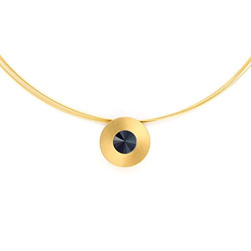 Heideman Halskette Damen Lumen aus Edelstahl Gold farbend matt Kette für Frauen mit Swarovski Stein Kristall Jet schwarz im Fantasie Edelsteinschliff