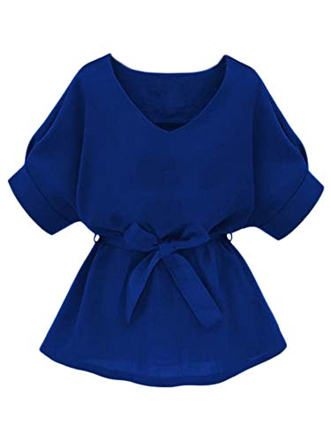 Milumia Women's Casual V Neckline Self Tie Short Sleeve Work Blouse Tunic Tops Blue X-Large