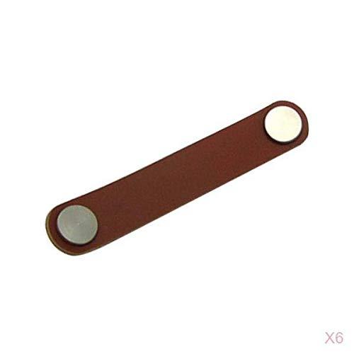 MagiDeal 6x Paso de Orificio de Un Orificio 104 Mm 143 Mm Manija de Muebles de Cuero Marrón Negro Manija de Reemplazo de Cuero de Estilo Moderno Perilla D