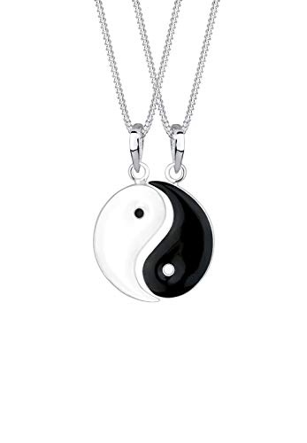 Elli Halskette Damen Partnerketten Spirituell mit Yin und Yang Anhänger in 925 Sterling Silber
