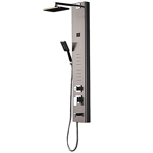 EGZYYSWD Stainless Steel Rainfall Shower Panel Tower System, Head Shower + Body Massage Sprays + Hand Showerhead, Multi-Function Massage System with Temperature Display