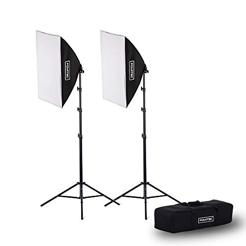 Fovitec 2-Light Fluorescent Studio Lighting Kit, 20'x28' Quick Setup Softboxes, 650W Continuous Light and Stands for Portraits, Product Photos, Vlogging, Video Conferencing, and Live Streaming