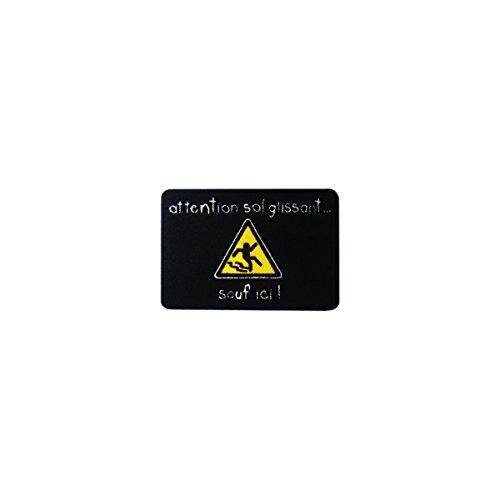 Incidence 51184 Tapis de cuisine Attention sol glissant sauf ici Noir Nylon et latex anti-dérapant
