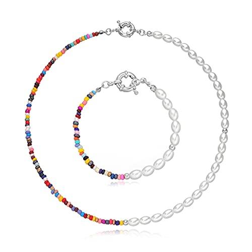 Valcano Collar de perlas de Bohemia de imitación de perlas de colores, gargantilla hecha a mano para mujeres, joyería de regalo