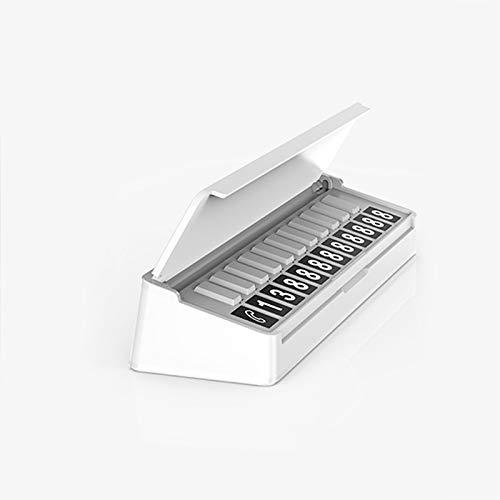 MeterMall Piano Stijl Nummers Verstelbare Auto Tijdelijke Parkeren Telefoonnummers Teken Parkeernummers Plaat Card Auto Accessoires Kleur: wit