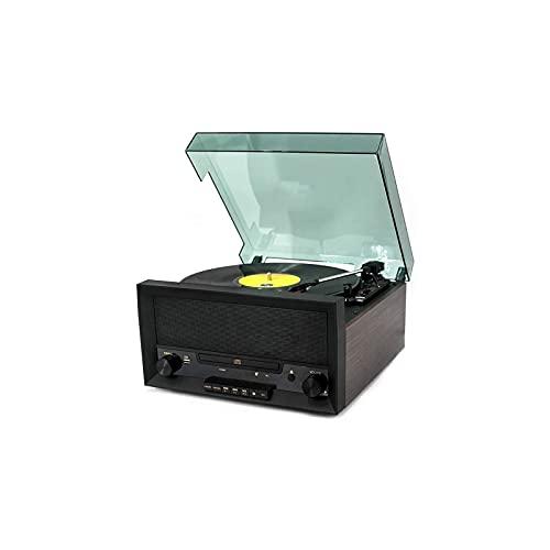 KSDCDF Player de grabación de Vinilo Viejo fonógrafo Bluetooth Radio Radio Reproductor de CD Disco USB Audio del Jugador