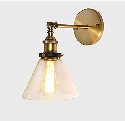 fe4bea737663 Industrial Single Light Wall Sconce-LITFAD Edison Antique Glass Shade Wall  Mounted Light Fixture H