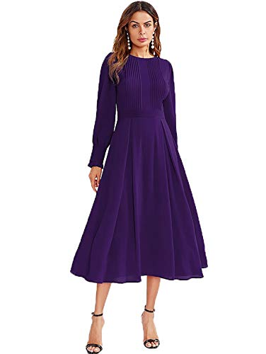 Milumia Women's Elegant Frilled Long Sleeve Pleated Fit and Flare Dress Dark Purple Large