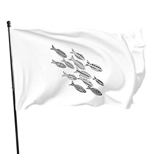 Generic Brands - Bandera para colorear con diseño de peces para adultos, 3 x 5 pies