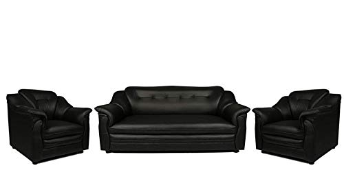 Sekar Lifestyle 3+1+1 Seater Black Polyurethane Sofa Set for Living Room (Medium)