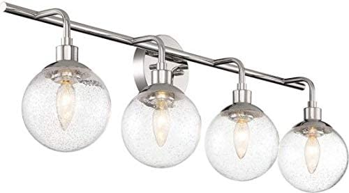 """2021 Craftmade 53304-CH Que Clear Seeded Glass Globe Bathroom Vanity Lighting, 4-Light 160 Total Watts, 11""""H sale x discount 33""""W, Chrome online sale"""